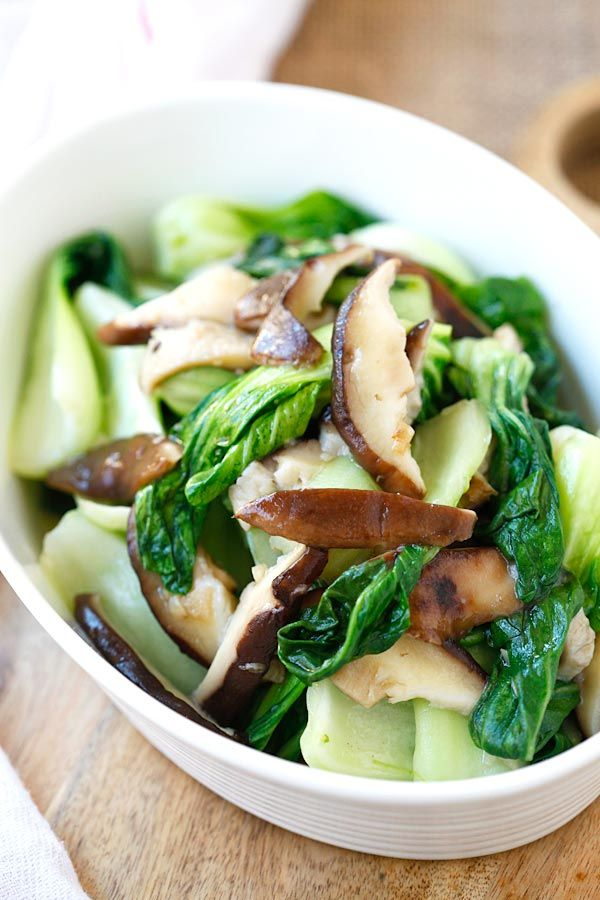 Garlic Mushroom Bok Choy - the easiest, healthiest, and best veggie dish with bok choy, mushroom and garlic. 3 ingredients
