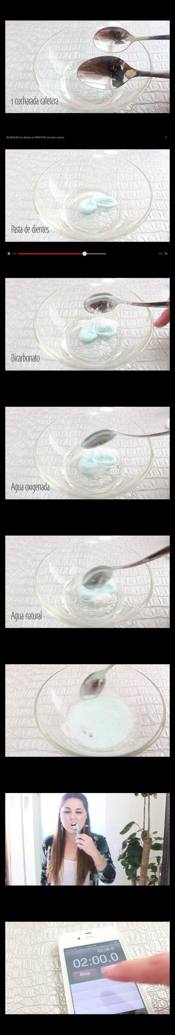 Desmanchar o aclarar dientes: Tantita pasta dental 1 cucharadita agua oxigenada 1 cucharadita bicarbonato de sodio Media cucharadita de agua  revolver todo, cepillarse los dientes con esa pasta x dos minutos, enjuagar y lavar normalmente los dientes