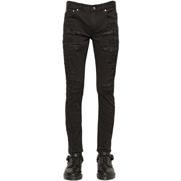 Blk Dnm Men 16cm Distressed Stretch Denim Jeans ($190) ❤ liked on Polyvore featuring men's fashion, men's clothing, men's jeans, black, mens super skinny ripped jeans, mens destroyed jeans, mens skinny fit jeans, mens ripped jeans and mens distressed skinny jeans
