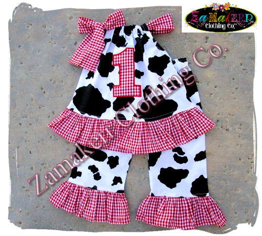Custom Boutique Clothing Baby Girl Barn Farm Cow Outfit Top Pant Set Red Gingham 1st 2nd Birthday 3 6 9 12 18 24 Month Size 2T 3T 4T 5T 6 7 by ZamakerrClothingCo on Etsy https://www.etsy.com/listing/242717412/custom-boutique-clothing-baby-girl-barn
