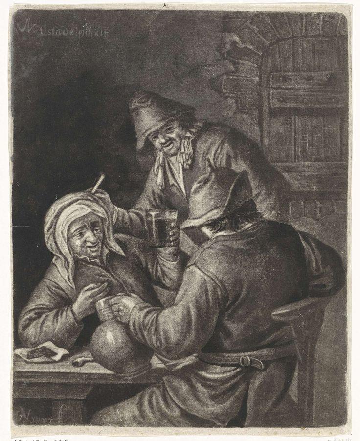 Drie drinkende figuren in een herberg, Justus van den Nijpoort, 1680 - 1691