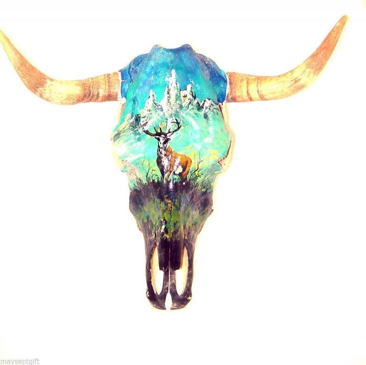 Download $119.99 Hand Painted Deer Real Cow Skull Bull Horns Mexico ...