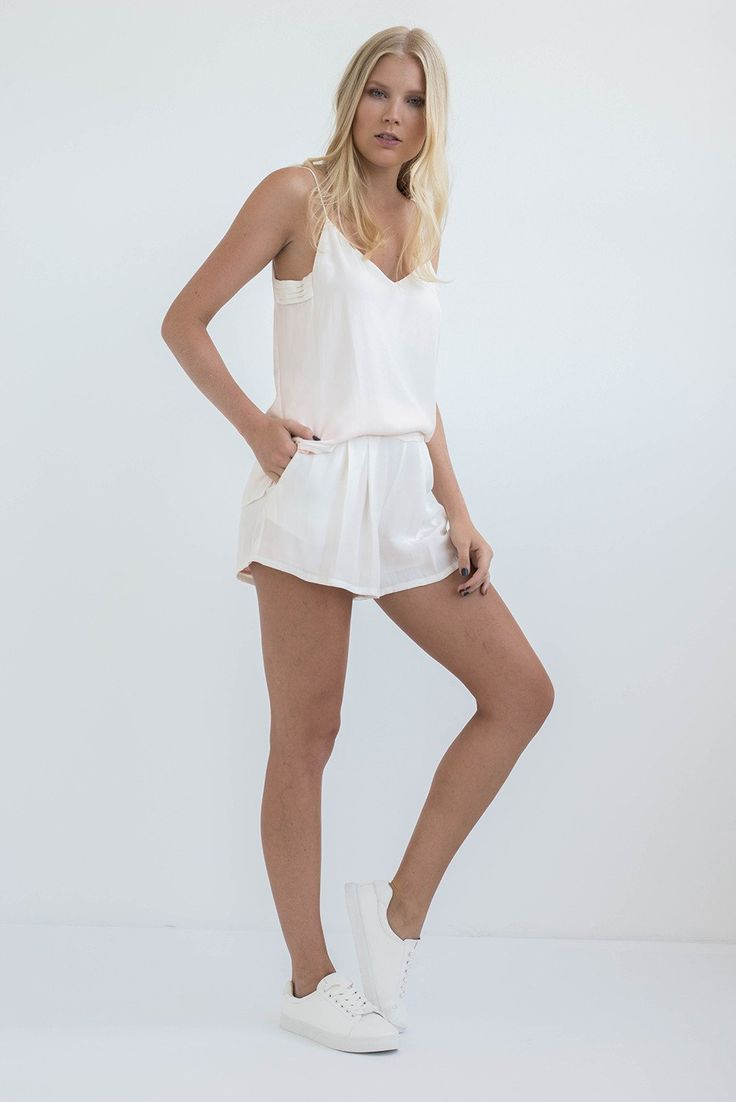 TWO PIECE SET: PEARL WHITE SLIP ON CAMISOLE