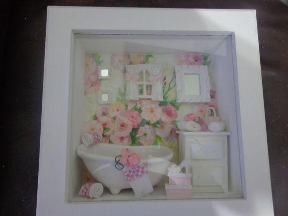 Quadro Decorativo banheiro Florido
