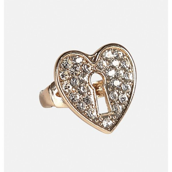 Avenue Heart Keyhole Stretch Ring ($6.99) ❤ liked on Polyvore featuring jewelry, rings, gold, plus size, yellow gold rings, gold jewellery, gold heart ring, heart jewelry and gold jewelry