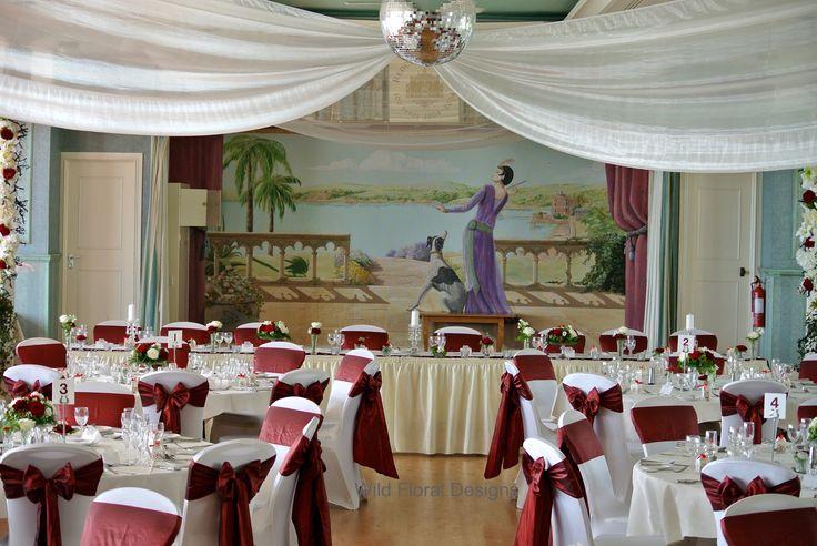 Redcliffe hotel Paignton wedding, chair covers, burgundy Taffeta sashes.