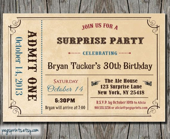 Adult Surprise Birthday Invite  Admit One Ticket by pegsprints