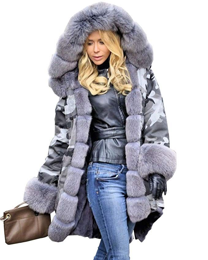 ea4ac3a17b76 Aox Women Hood Coat Faux Fur Thicken Lined Overcoat Winter Camo Plus Size  Jacket Snow Parka Outwear at Amazon Women's Coats Shop