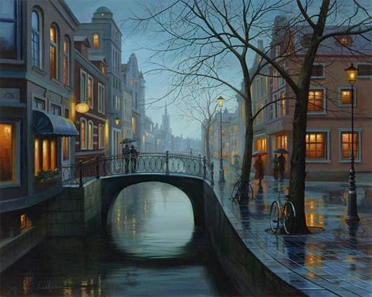City Paintings by Eugene Lushpin  Kind of Thomas Kincaid-y, but I really like them