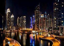 Drapacze, Chmur, Fragment, Abu Dhabi, Nocą