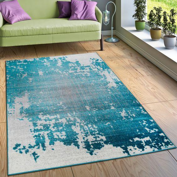 Designer Teppich Wohnzimmer Mit Splash Muster Vintage Optik In Türkis Weiß Grau Wohn und Schlafbereich Designer Teppiche