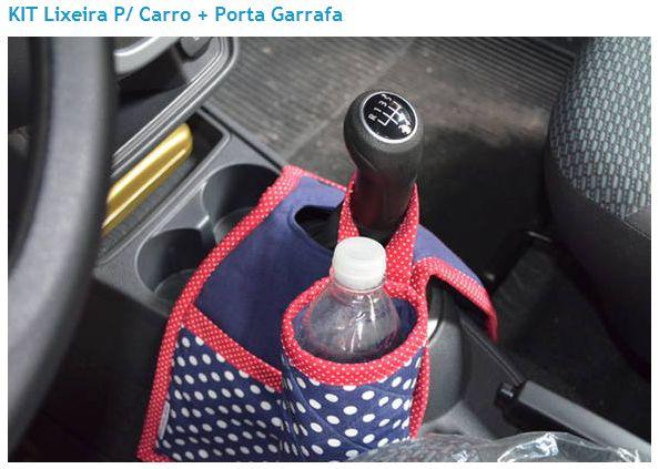 Lixeira dupla para carro + porta garrafa