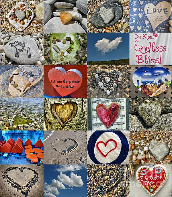 Hearts in nature. Valentine's Day or Shape of my heart Collage.  PHOTOGRAPHY by Daliana Pacuraru
