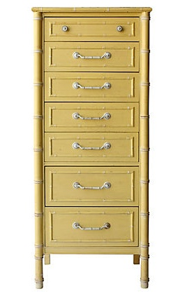 vintage Faux-Bamboo Yellow Chest 22.25 x 16 x 52.5H on One Kings Lane