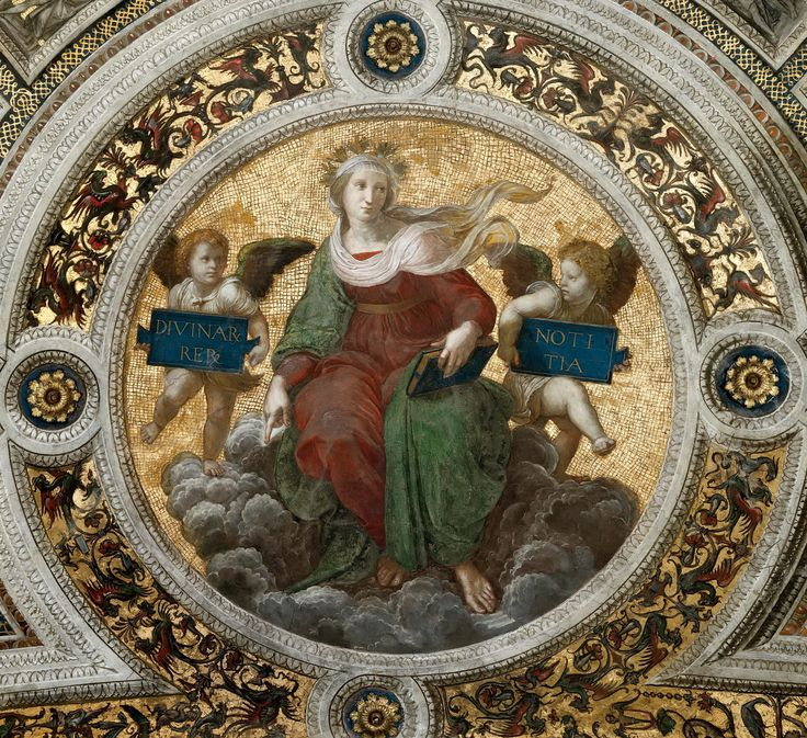 Рафаэль Санти: Станца делла Сеньятура: Роспись потолка (деталь) - БогословиеМузеи Ватикана, Ватикан (Musei Vaticani, Vatican).  1511
