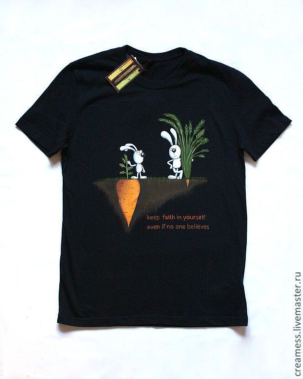 """Купить Роспись мужской футболки """"Вера в себя"""" - рыжий, рисунок, оригинальный подарок, оригинальная футболка"""