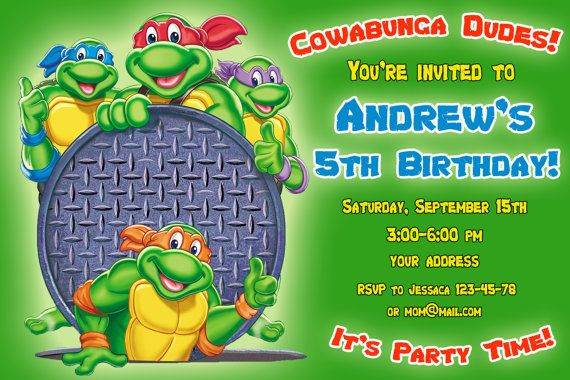 Hey, I found this really awesome Etsy listing at https://www.etsy.com/listing/157569805/tmnt-birthday-invitation-ninja-turtles