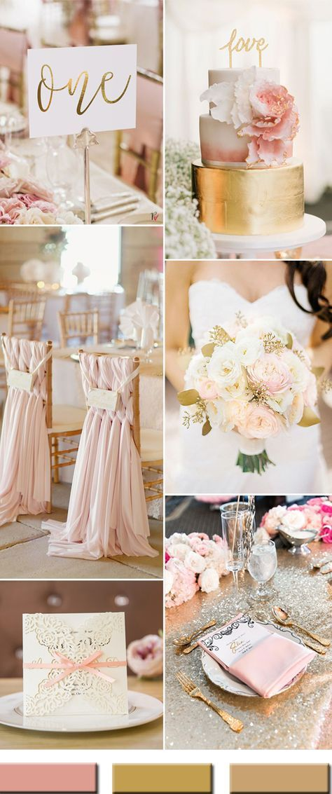pink blush and gold wedding colors for 2017