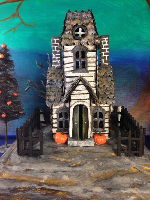 Haunted Manor from Tim Holtz' Village Dwelling and Village Manor dies for Halloween. More on my blog - withglueandglitter.blogspot.com