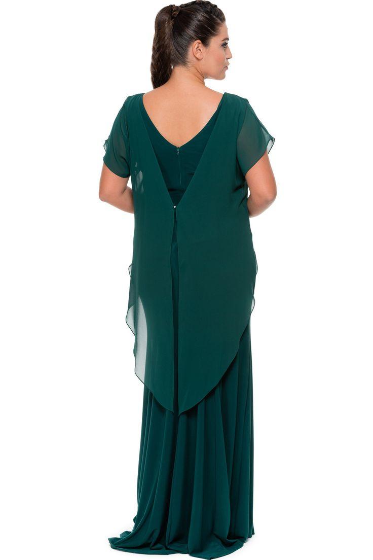 Zümrüt Yeşili Taş Detaylı Büyük Beden Abiye ALK6140 | Abiyefon.com