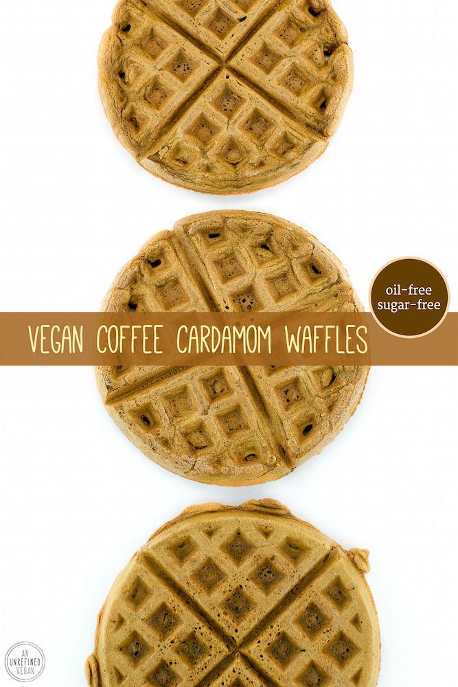 Oil-free, sugar-free, plant-based Coffee Cardamom Waffles from An Unrefined Vegan.