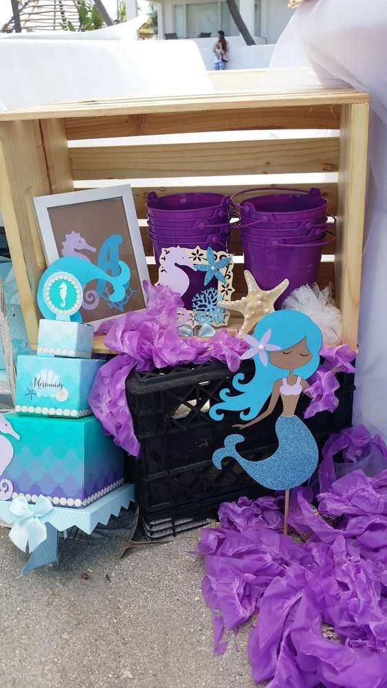 Themed decorations at a mermaid birthday party! See more party planning ideas at CatchMyParty.com!