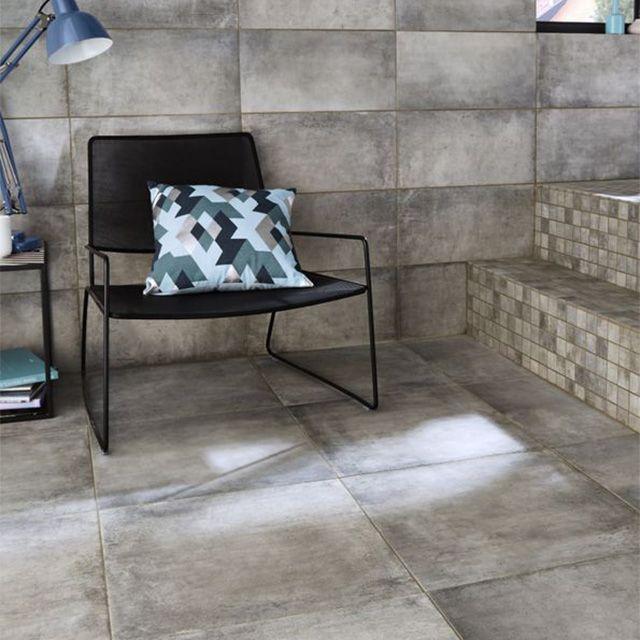 carrelage sol et mur gris 25 x 50 cm container castorama. Black Bedroom Furniture Sets. Home Design Ideas