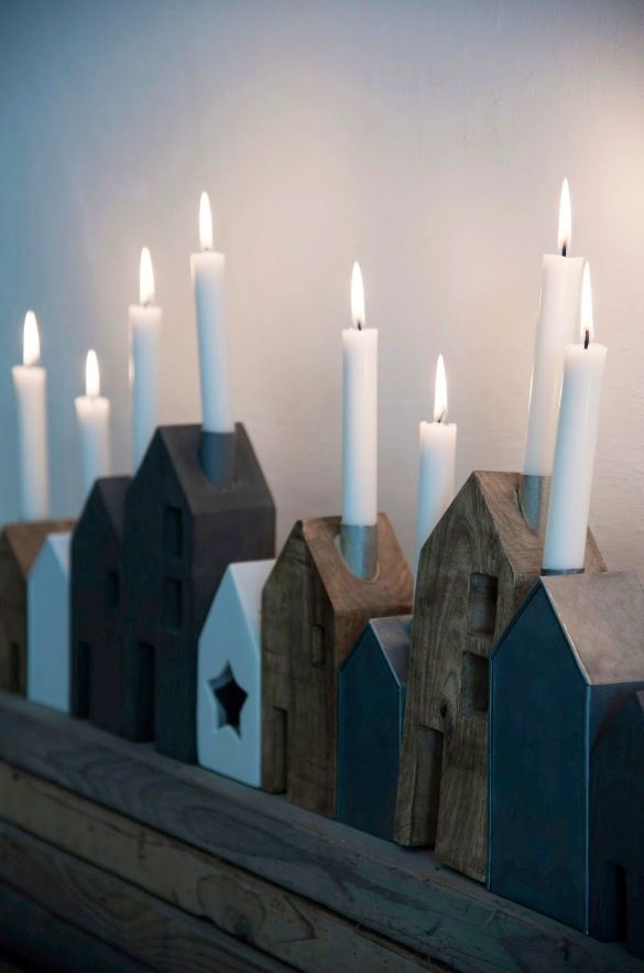 Wood house candle holders - love this idea!