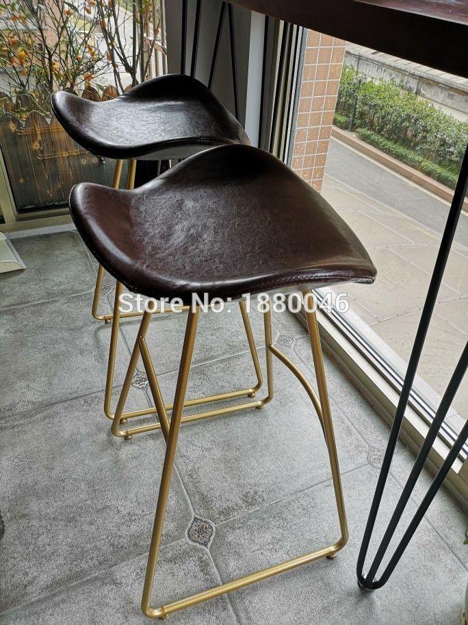 75cm Height Nordic High End Gold Bar Stool Designer Home Chair Coffee Milk Tea Front Desk Bar Chair Creative Coffee In 2020 Coffee Chairs Gold Bar Stools Bar Chairs