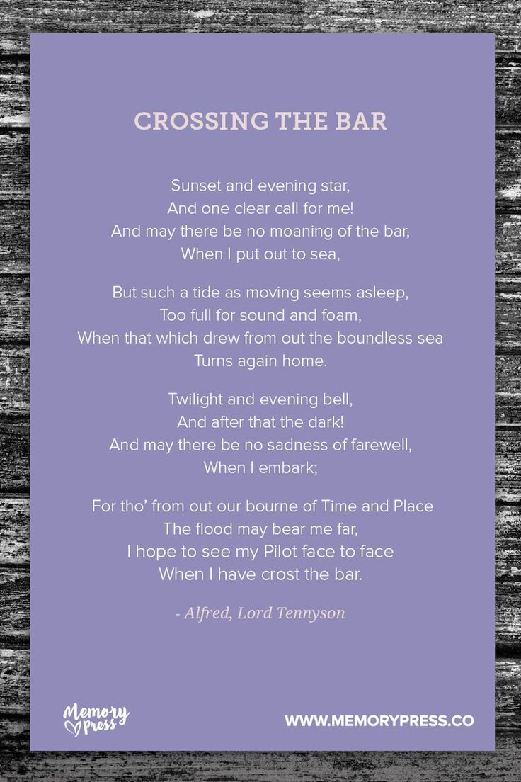 Crossing the Bar, a Collection of Non-Religious Funeral Poems curated by Memory Press - creators of beautiful, uplifting, and memorable Funeral Programs