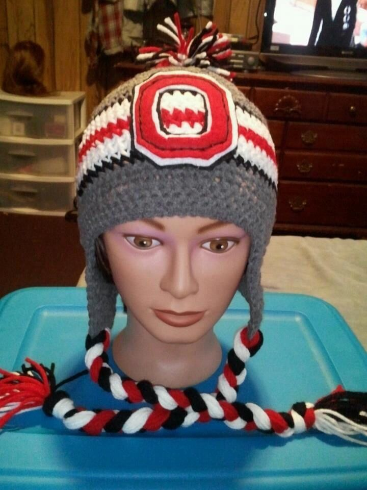Crocheted Ohio State Hat
