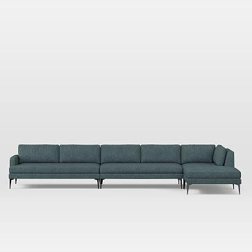 Andes Set 10, Left 2.5 Seater Sofa, Ottoman, Corner, Armless 2 Seater, Heathered Tweed, Marine