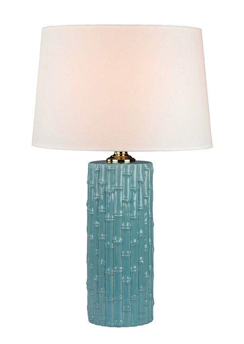 Turquoise Bamboo Ceramic Table Lamp