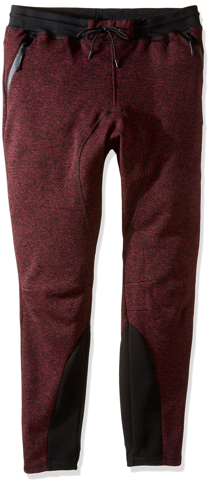 Southpole Men's Fleece Jogger Pants with Color Block Open Bottom, Marled Burgundy, Small