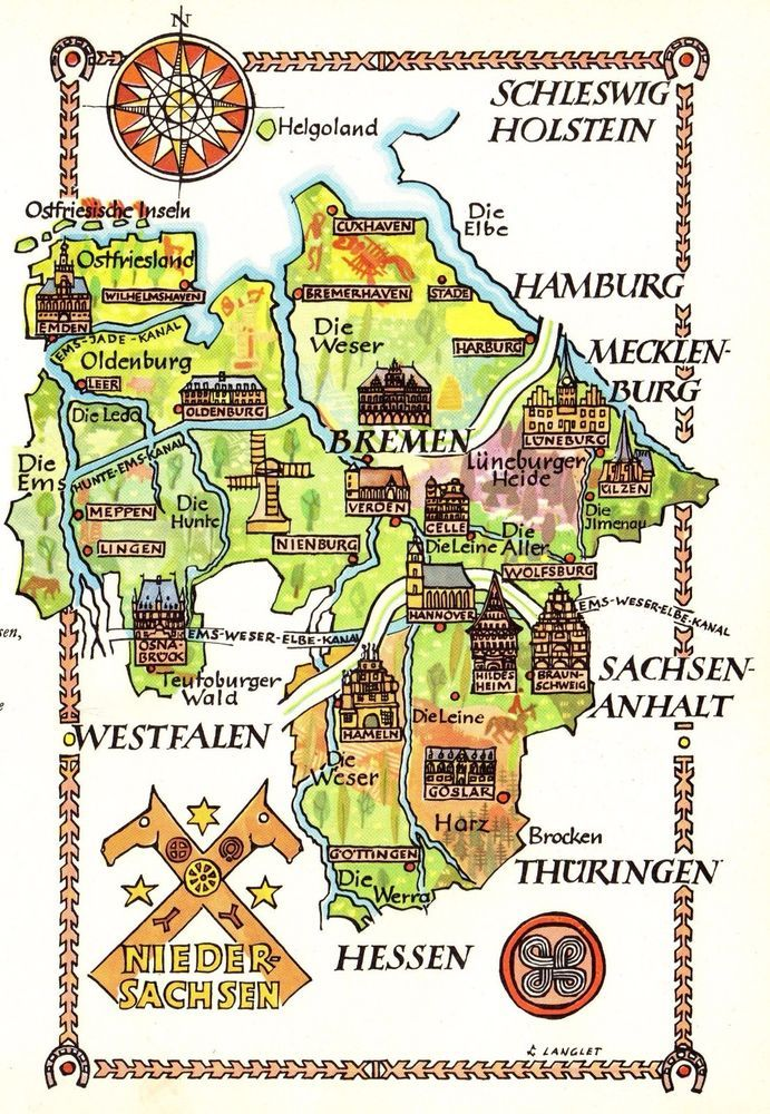 Vintage Germany Map Picture Map Of Lower Saxony Germany Pictorial