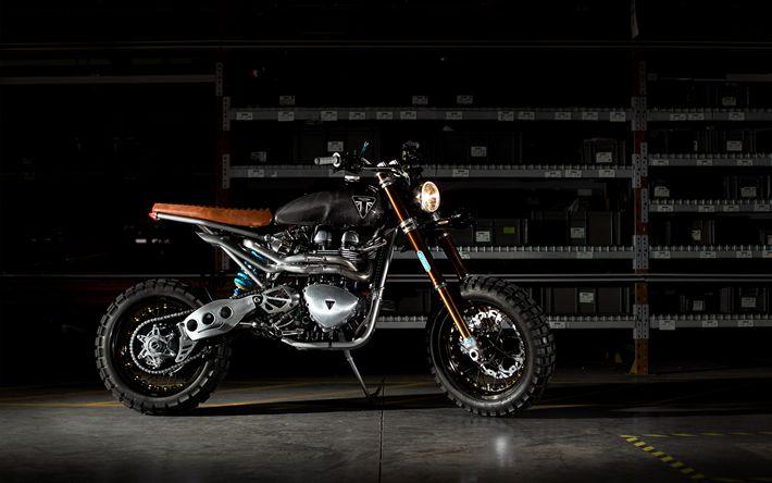 Descargar fondos de pantalla Triumph Scrambler, superbikes, el almacén, el Triunfo