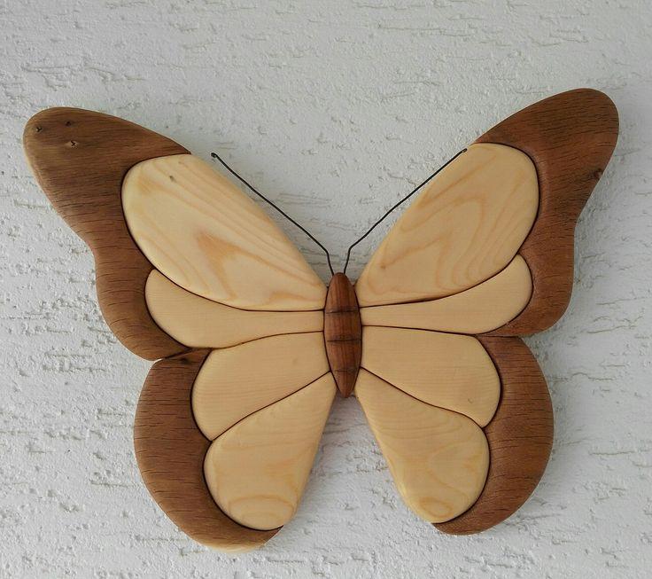 Ahşap kakma kelebek wood intarsia butterfly