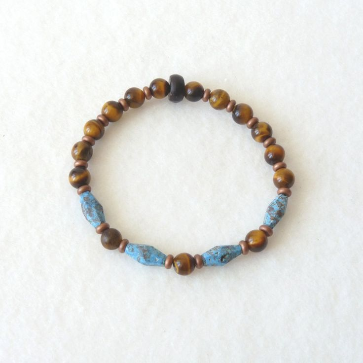Tendance Bracelets  Turquoise Tiger Eyes Bracelet Copper Heishi Beaded Stones Elastic Bracelet Boh