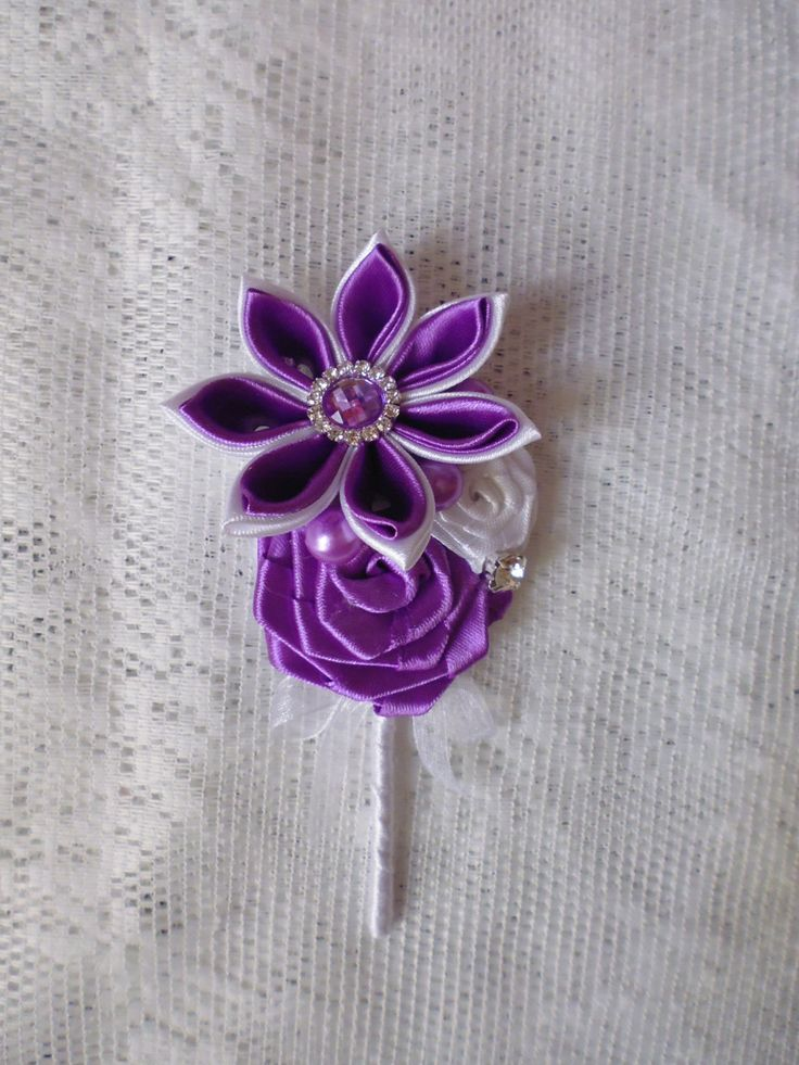 Bridal bouquet handmadecolor purple white by DeShiko on Etsy