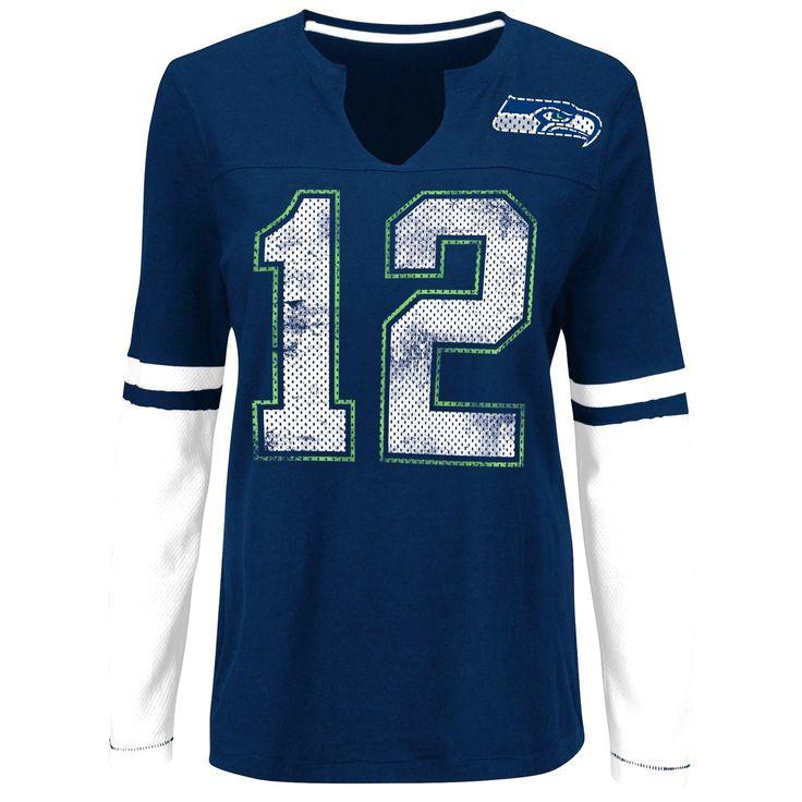 Seattle Seahawks Majestic Women's Kickoff Blitz Long Sleeve T-Shirt - Navy - $31.99