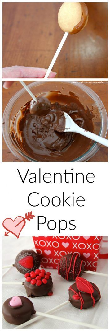 Valentine (no bake) Cookie Pops are so much fun for the kids to help make to give to neighbors and friends for Valentines Day! www.cookingwithruthie.com