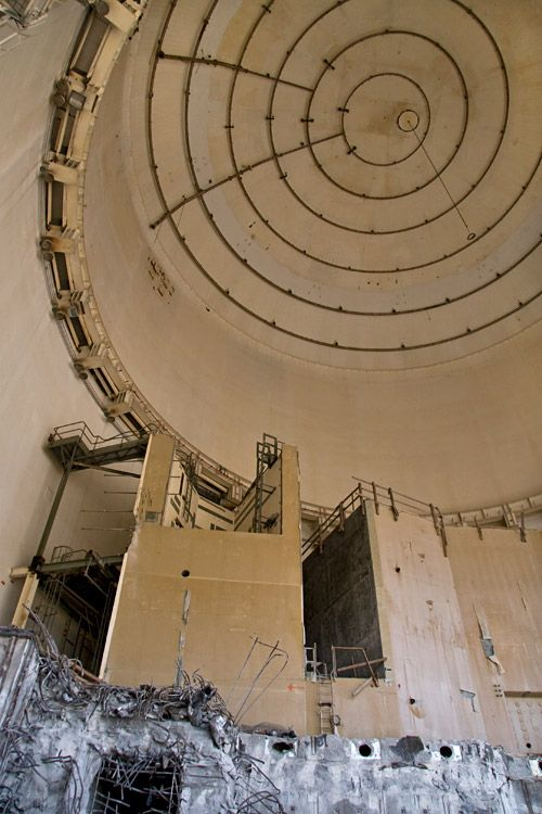 Inside the remaining containment dome at the Marble Hill Nuclear Power Station. The reactor core had already been scrapped.