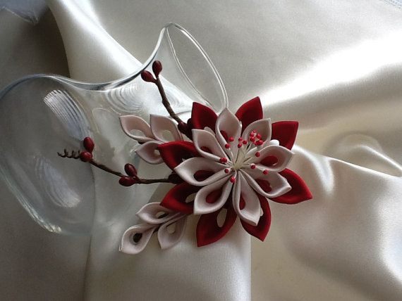 Hair Clip - Red, Champagne or Light Brown or  Pale Brown Kanzashi Flower