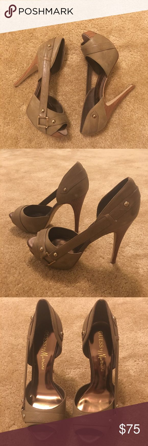 WILLING TO TRADE - Trade Value $75 BNWOT Guess by Marciano Heels in gorgeous Olive green color with gold hardware - I bought these a while back, but never worn them - They have somewhat of a distressed look - My entire closet is up for trade/negotiation. If you would like to exchange any item(s) with me, please feel free to send me a message. Thank you in advance 😘 (Local Pick-Up is available in Washington, D.C./Northern VA) Guess by Marciano Shoes Platforms