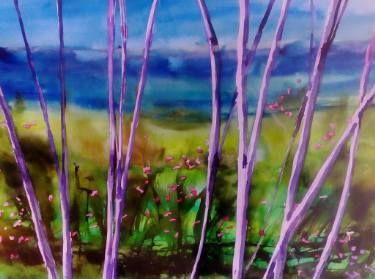 "Saatchi Art Artist Sally Scott; Painting, ""We Meet By Purple Trees"" #art"