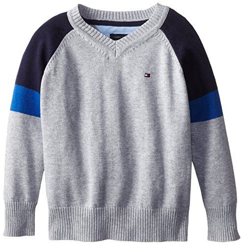 Tommy Hilfiger Little Boys' Gary V-Neck, TH Grey TH, 04 Regular