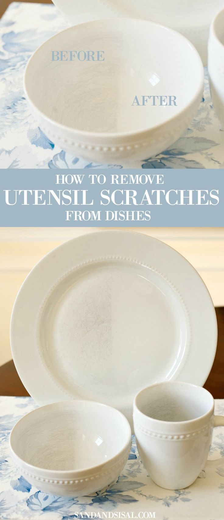 STOP! Don't throw away your dishes! Click through to learn How to Remove Utensil Scratches from Dishes! Seriously amazing. This will be one popular pin to put on your must try list!
