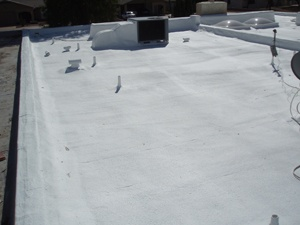 What is a foam roofing system?  A foam roofing system is applied as a liquid by a roofing professional. It quickly dries to a solid, seamless blanket of insulation that covers your entire roof surface. It is designed to provide a waterproof, weather resistant covering for your building. It has no seams so it is impossible for your roof to leak.