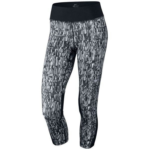 Nike Racer Dri-fit Printed Capri Leggings ($60) ❤ liked on Polyvore featuring pants, leggings, black, capri leggings, stretchy leggings, stretch trousers, stretchy pants and stretch pants