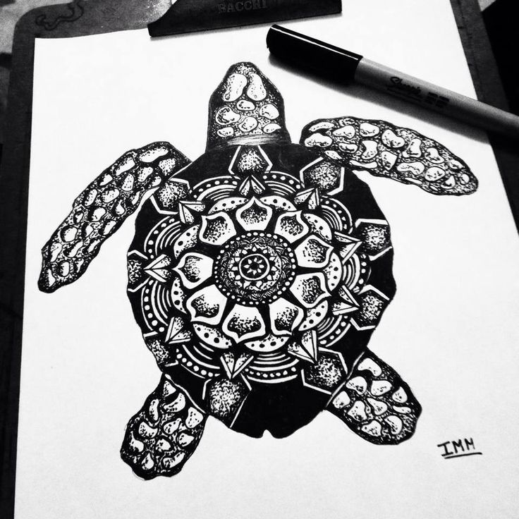 Tartaruga zentangle/ Zentangle Turtle. Draw, ink, tattoo